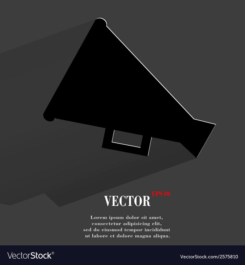 Megaphone loud-hailer flat modern web button with vector | Price: 1 Credit (USD $1)