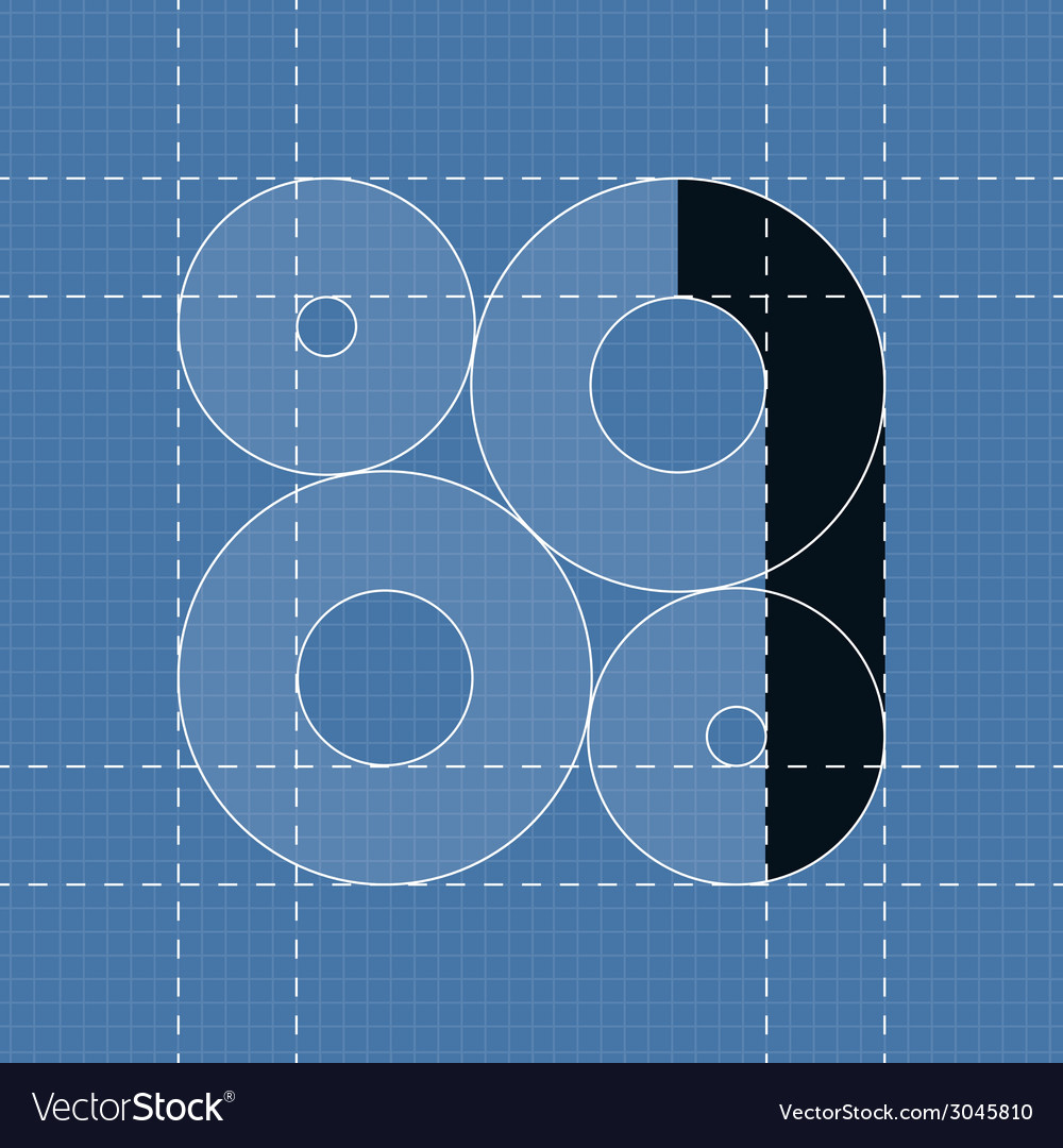 Round engineering font symbol 1 vector | Price: 1 Credit (USD $1)