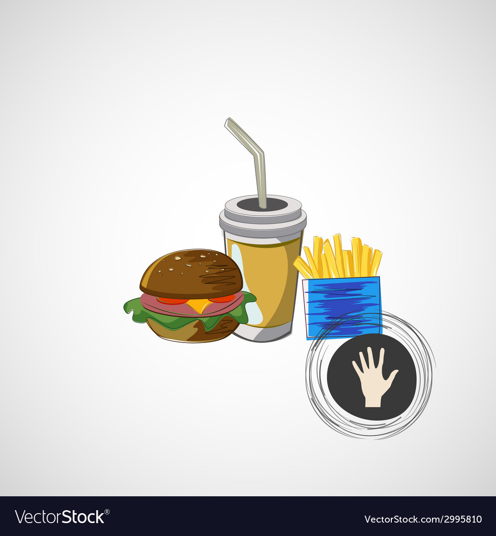 Set of fast food drink burger fries vector | Price: 1 Credit (USD $1)
