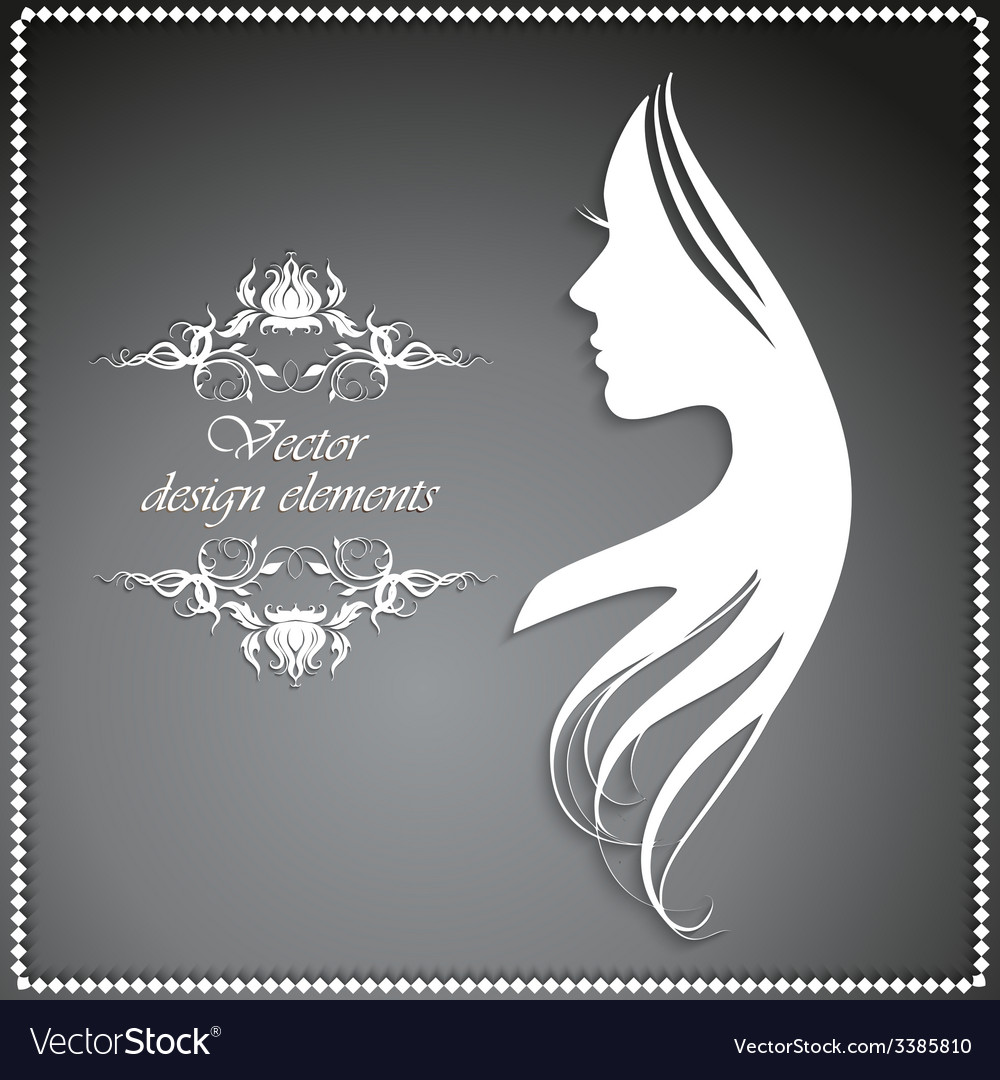 Silhouette of a girl with long hair and beautiful vector | Price: 1 Credit (USD $1)