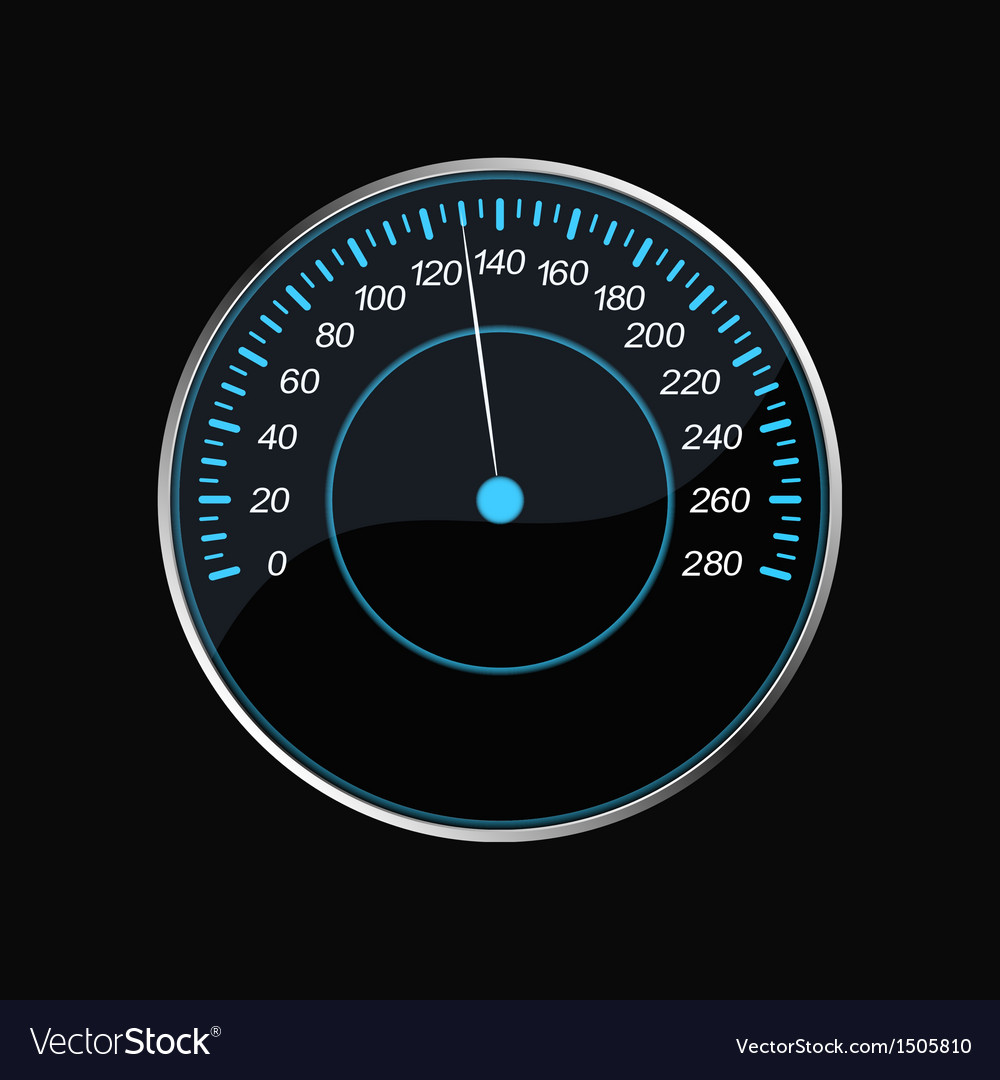 Speedometer on a black background blue scale vector | Price: 1 Credit (USD $1)