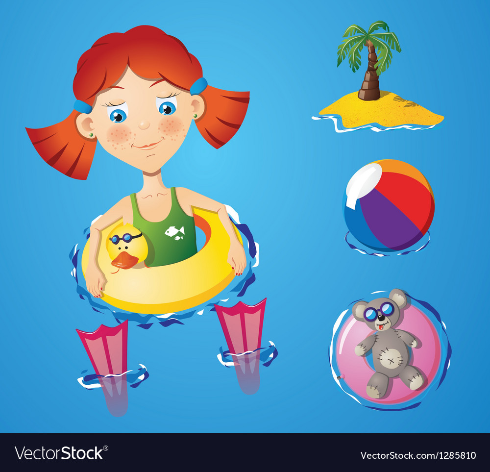 Water fun - girl vector | Price: 1 Credit (USD $1)