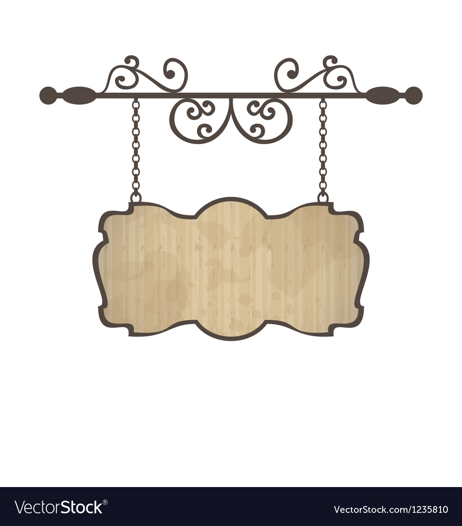 Wooden sign with place for text floral forging vector | Price: 1 Credit (USD $1)