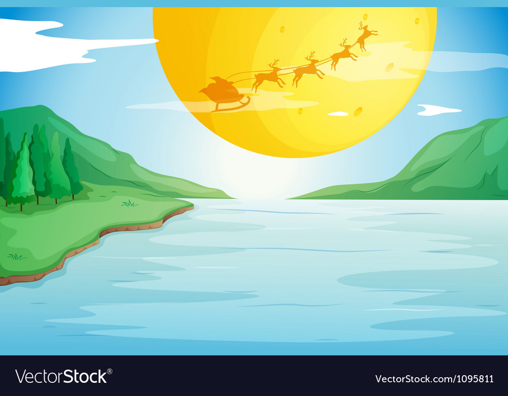 A river and a moon vector | Price: 1 Credit (USD $1)