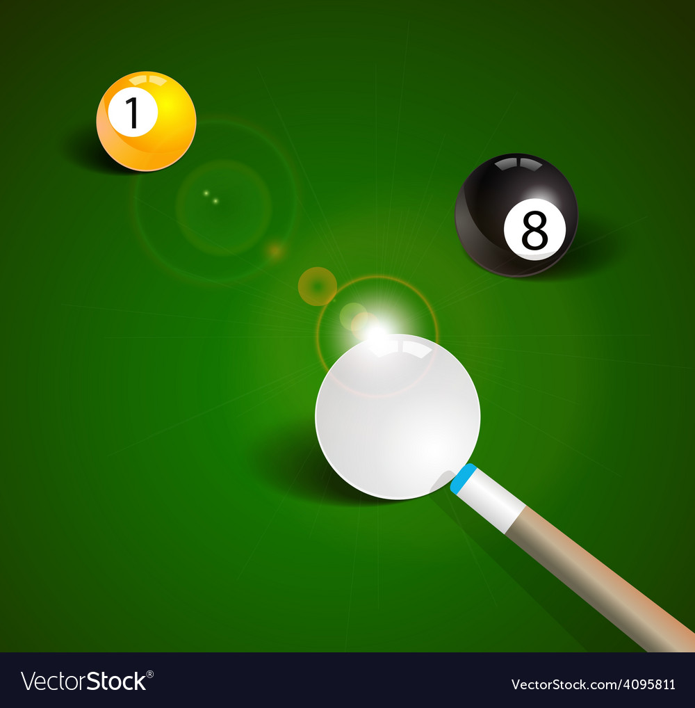 Billiard balls in a green pool table vector | Price: 1 Credit (USD $1)