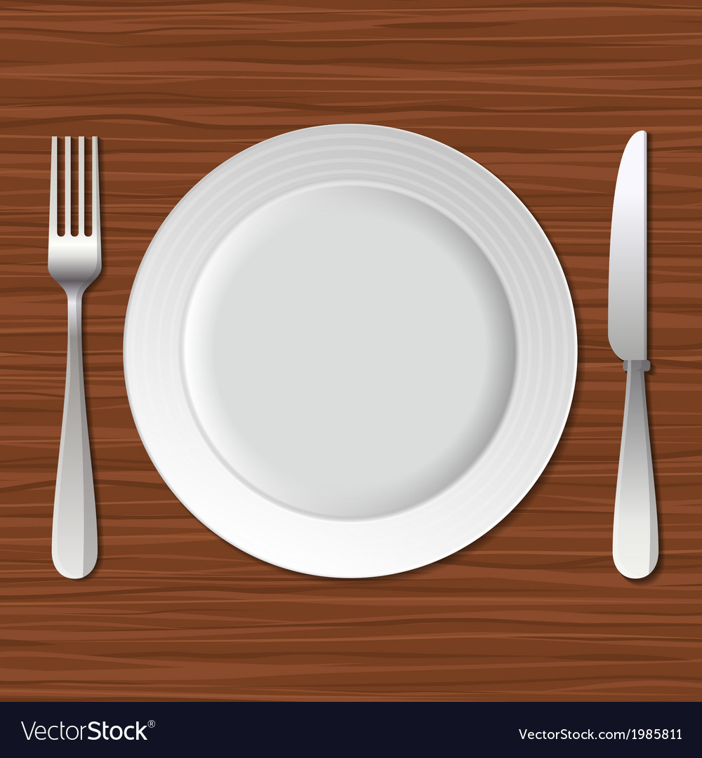 Blank plate fork and knife on old wooden table vector | Price: 1 Credit (USD $1)