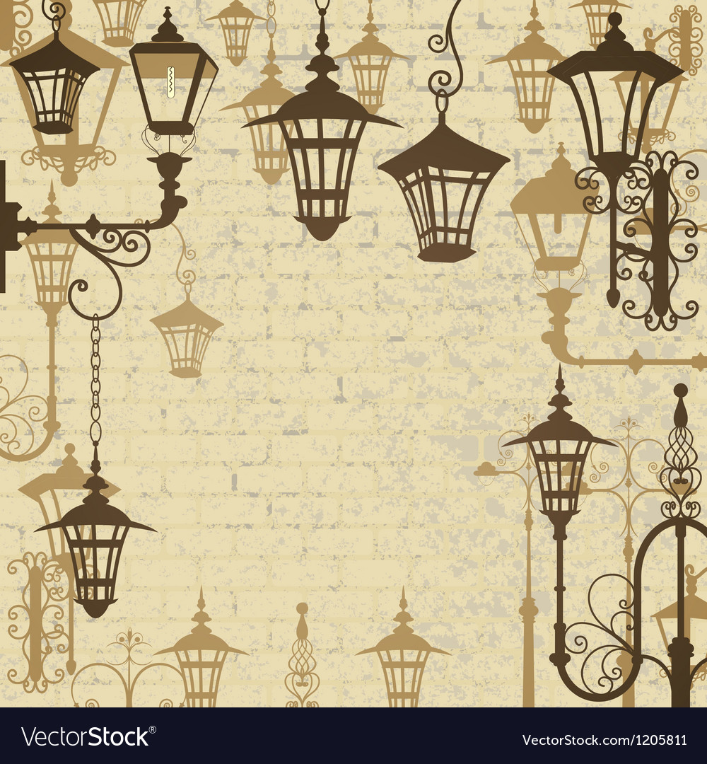 Old town background with wrought lanterns vector | Price: 1 Credit (USD $1)