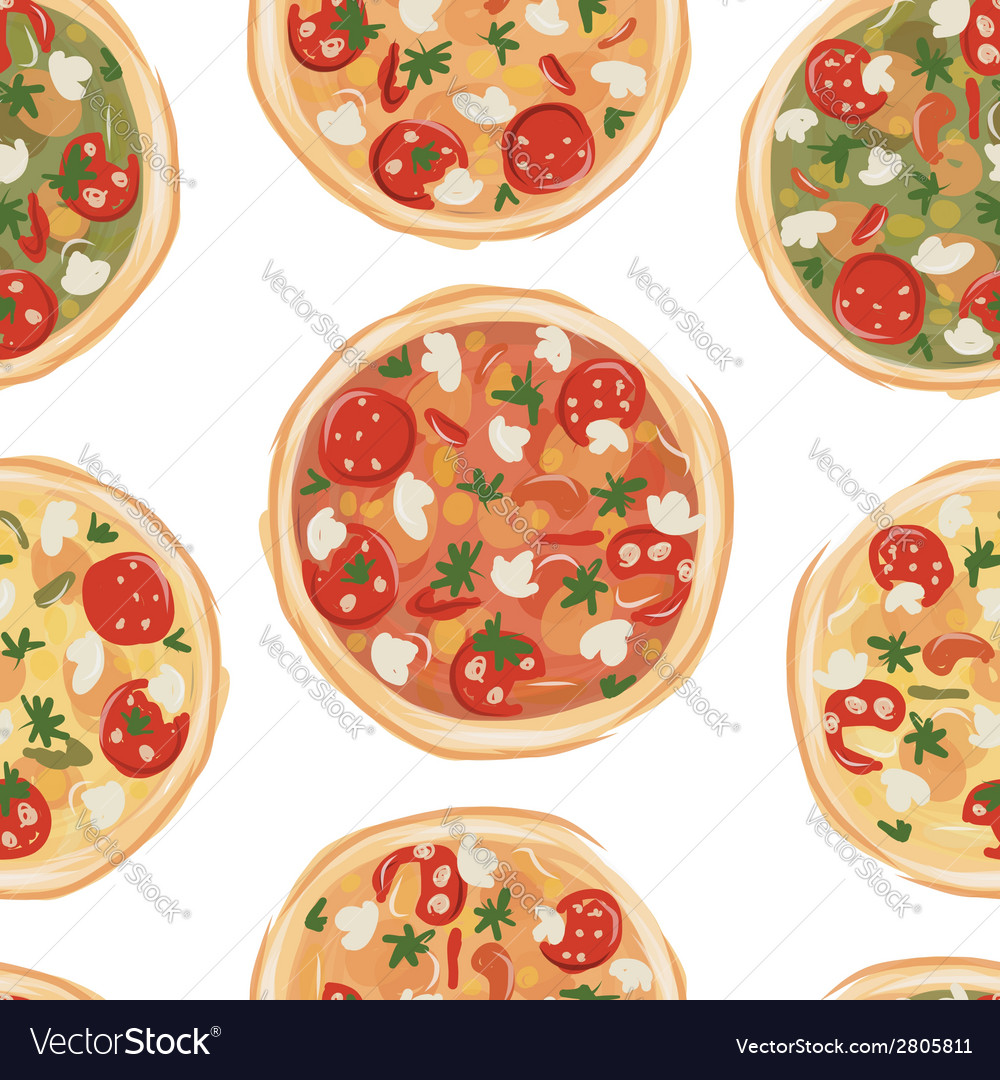Pizza seamless pattern for your design vector | Price: 1 Credit (USD $1)