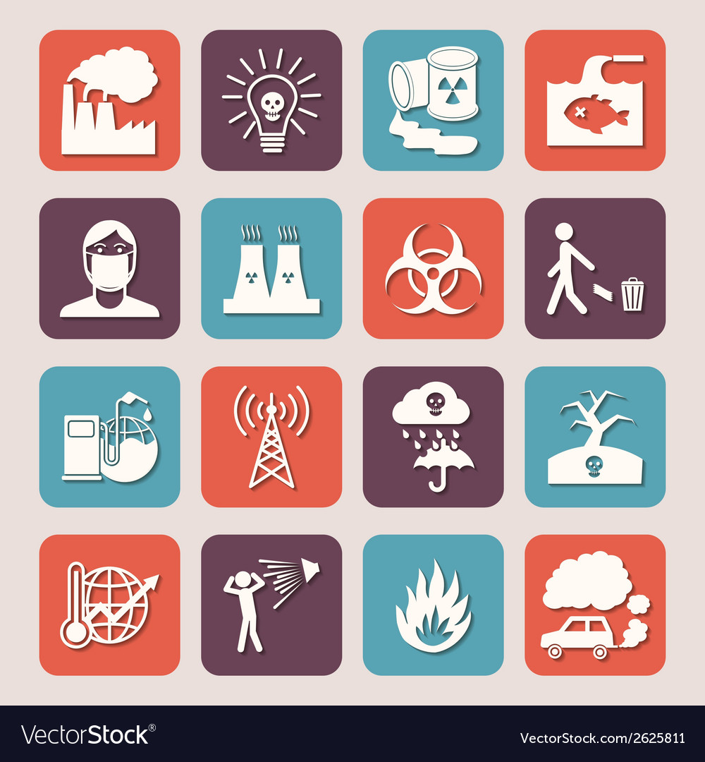 Pollution icons set vector   Price: 1 Credit (USD $1)