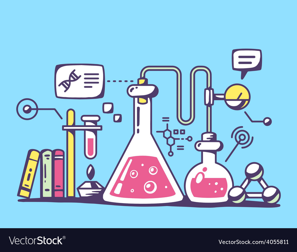 Red and yellow chemical laboratory flasks vector