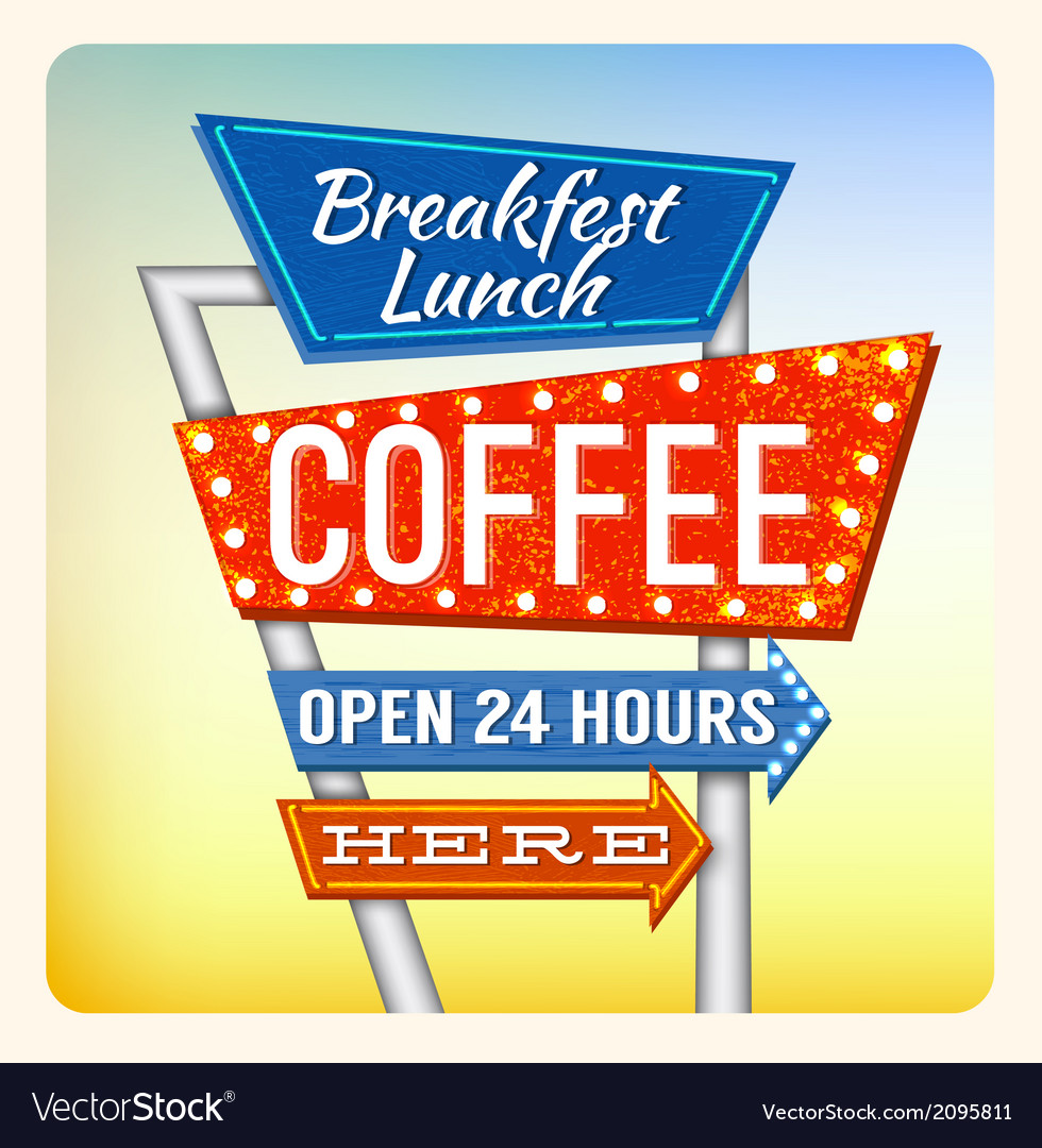 Retro neon sign breakfest coffee vector | Price: 1 Credit (USD $1)