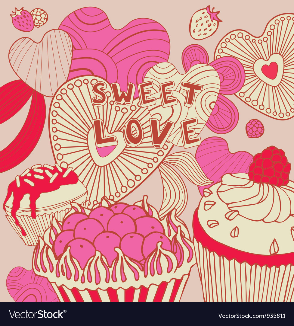 Retro sweet love background vector | Price: 1 Credit (USD $1)