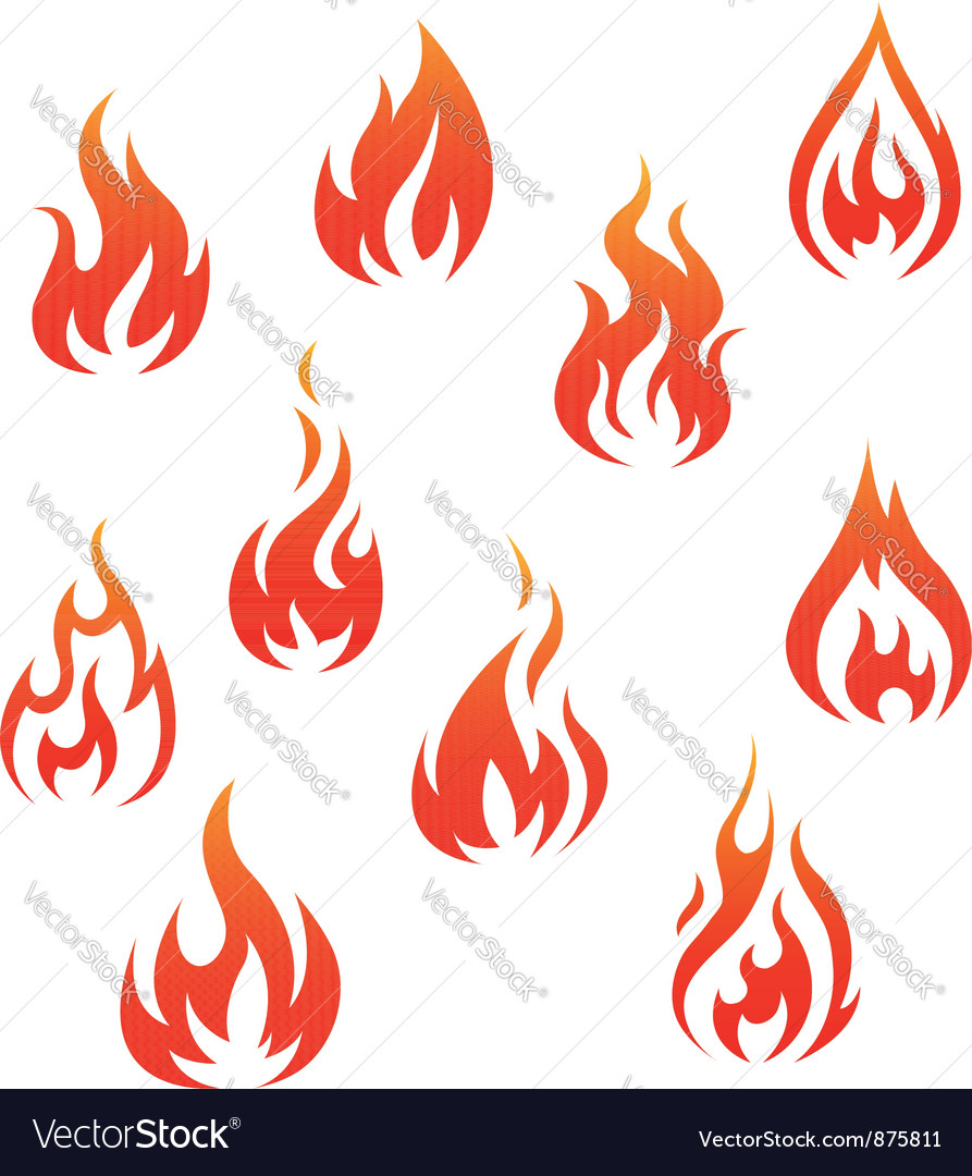 Set of fire flames isolated on white vector | Price: 1 Credit (USD $1)