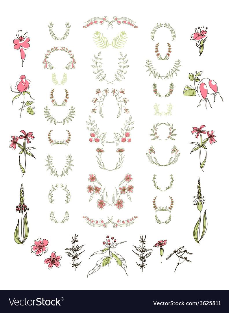 Set of symmetrical floral graphic design elements vector | Price: 1 Credit (USD $1)