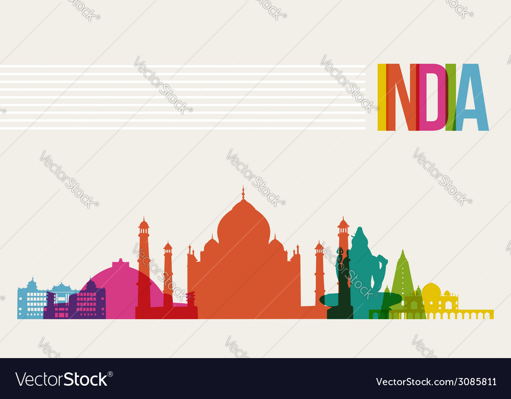Travel india destination landmarks skyline vector | Price: 1 Credit (USD $1)