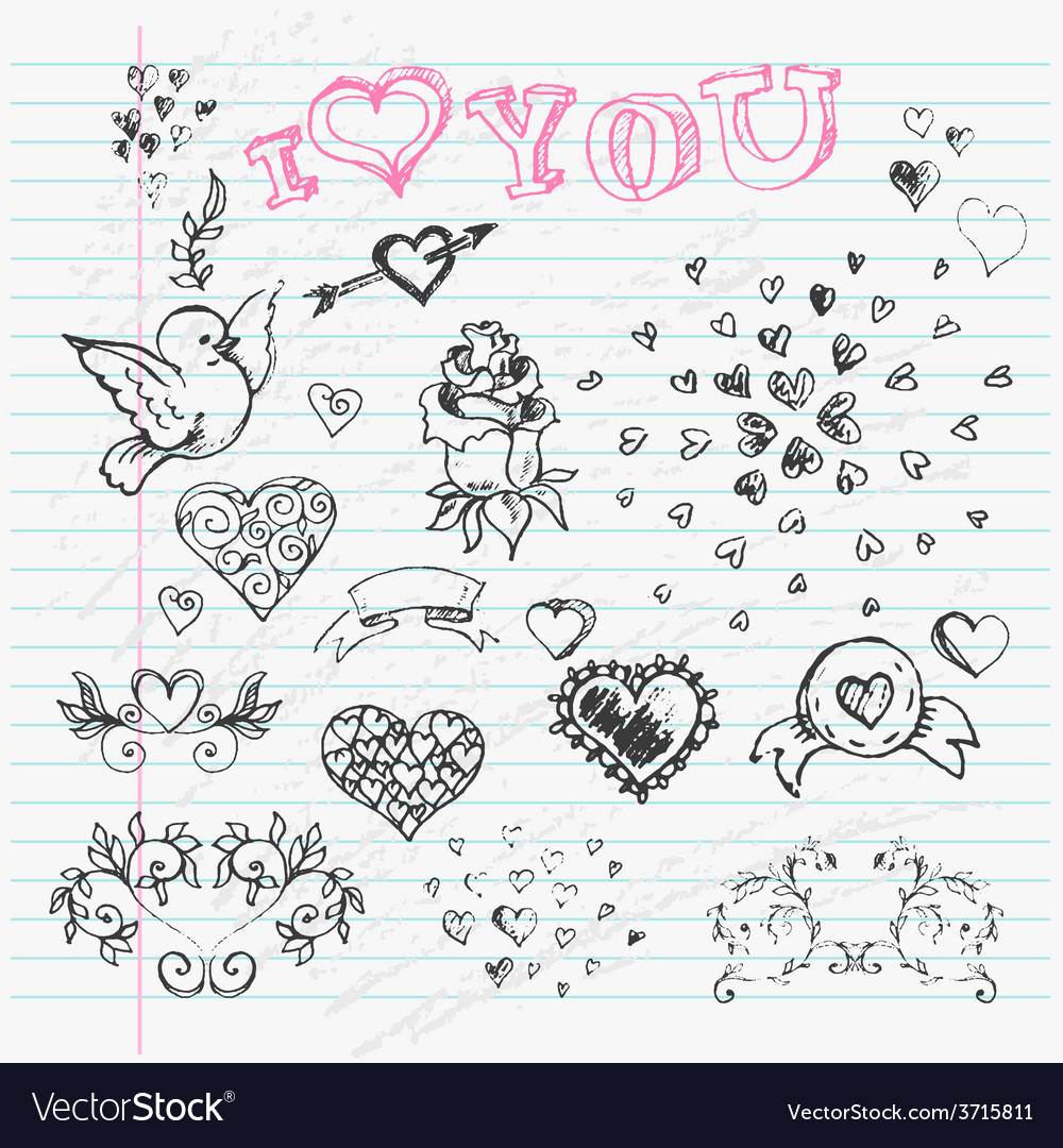 Valentines day love and hearts sketch notebook vector