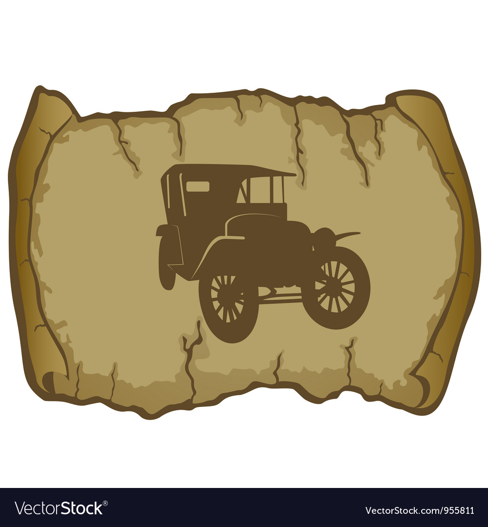 Vintage car and parchment vector | Price: 1 Credit (USD $1)