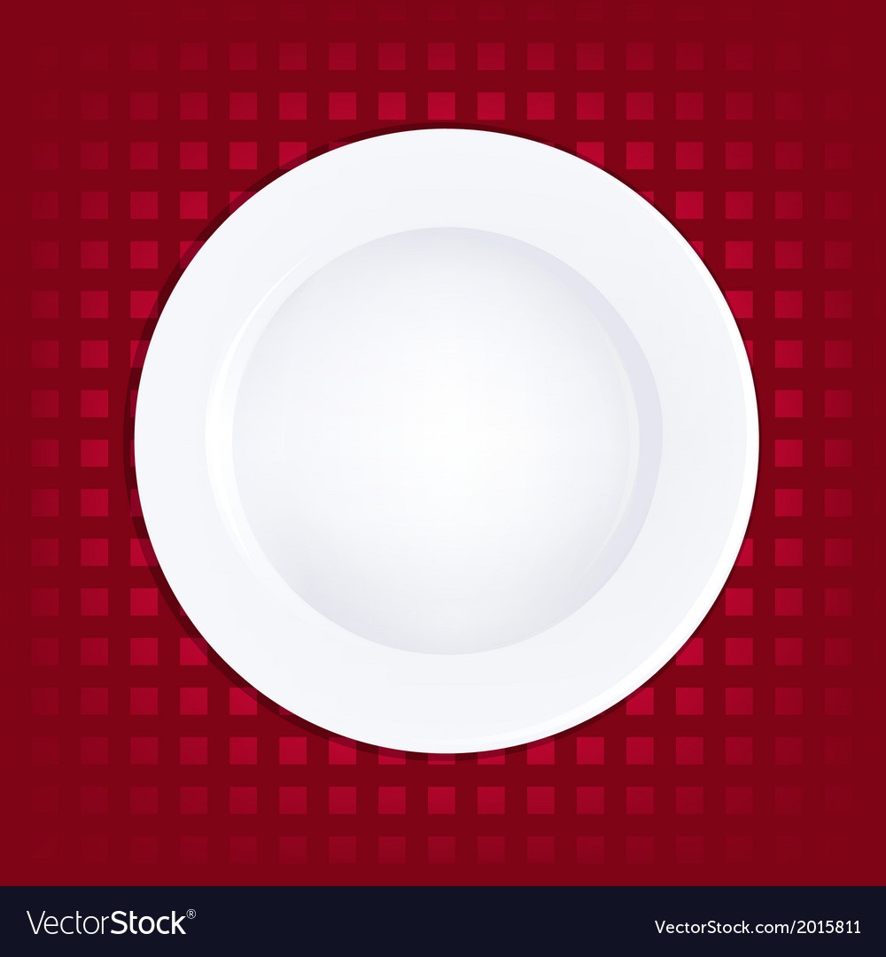 White plate on red background vector | Price: 1 Credit (USD $1)