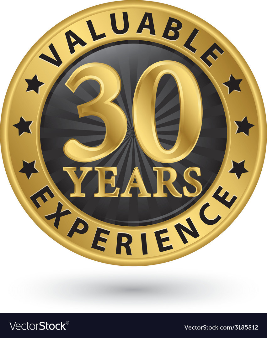 30 years valuable experience gold label vector | Price: 1 Credit (USD $1)