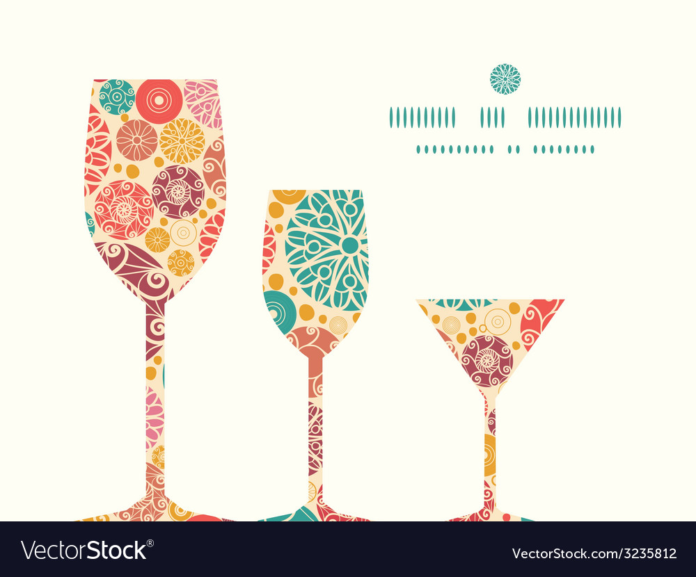 Abstract decorative circles three wine glasses vector | Price: 1 Credit (USD $1)