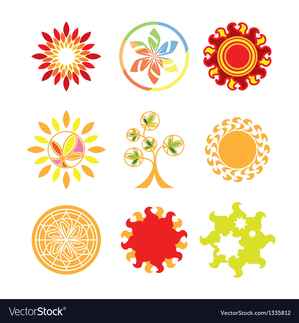 Collection of logos in the form of the sun vector | Price: 1 Credit (USD $1)