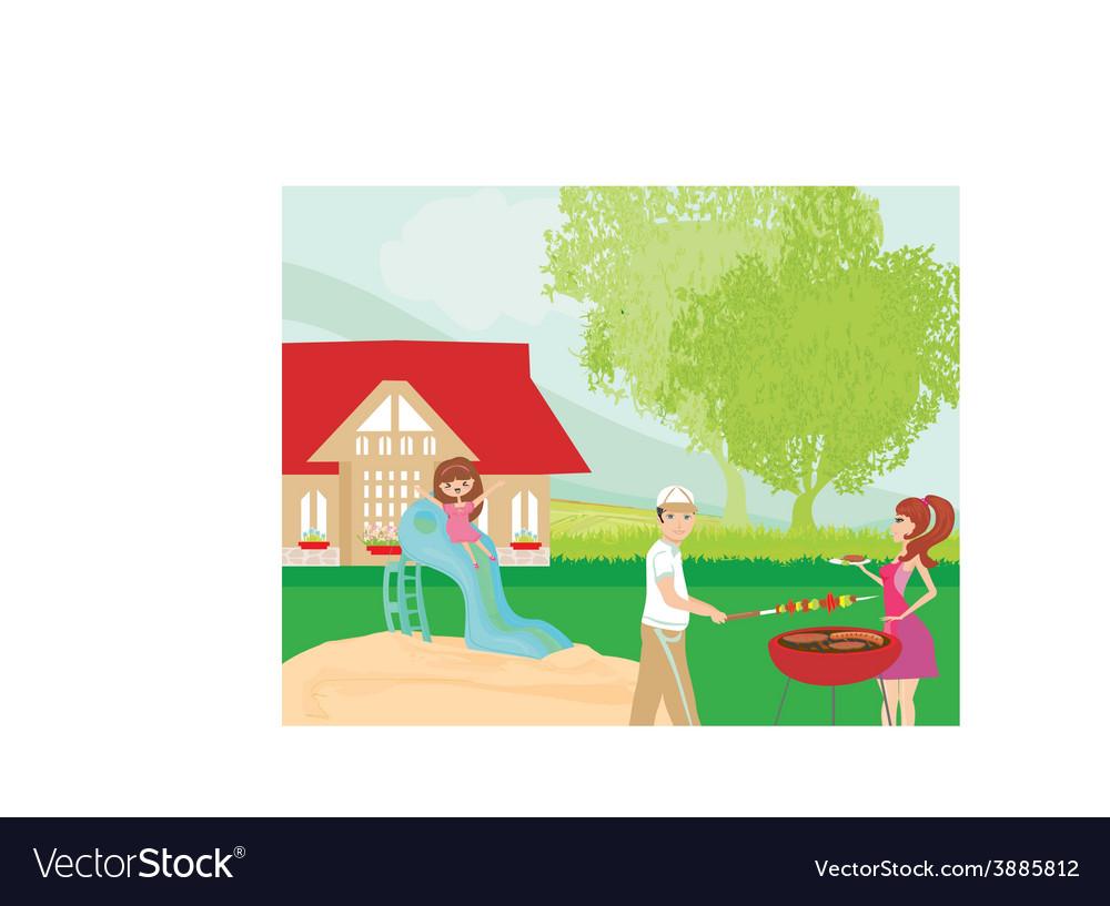 Family having barbecue in the garden vector   Price: 1 Credit (USD $1)