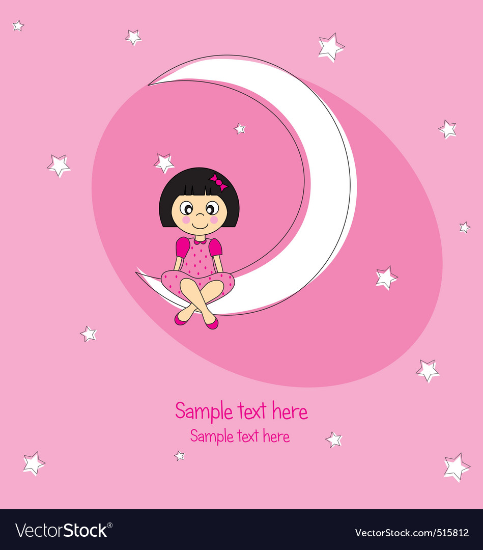 Girl sitting on the moon vector | Price: 1 Credit (USD $1)