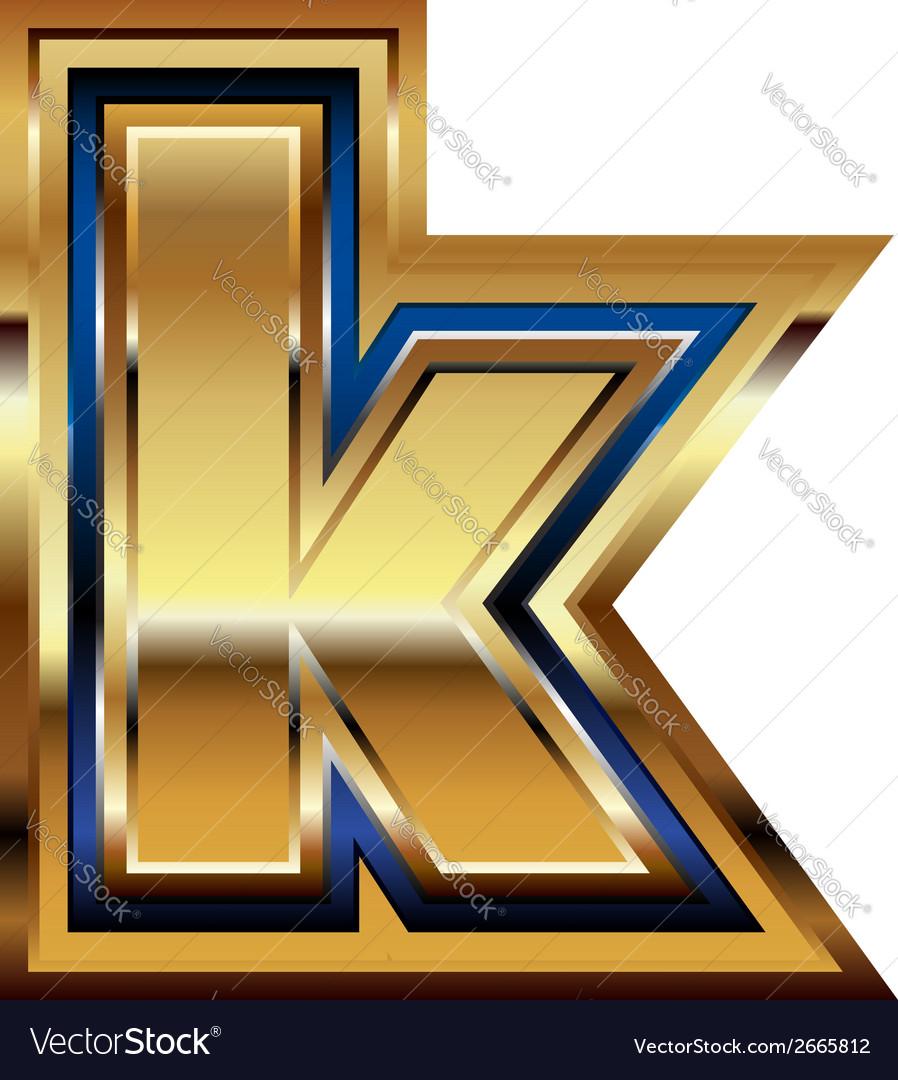 Golden font letter k vector | Price: 1 Credit (USD $1)