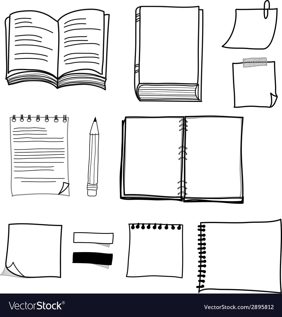 Hand drawing stationary design set vector | Price: 1 Credit (USD $1)