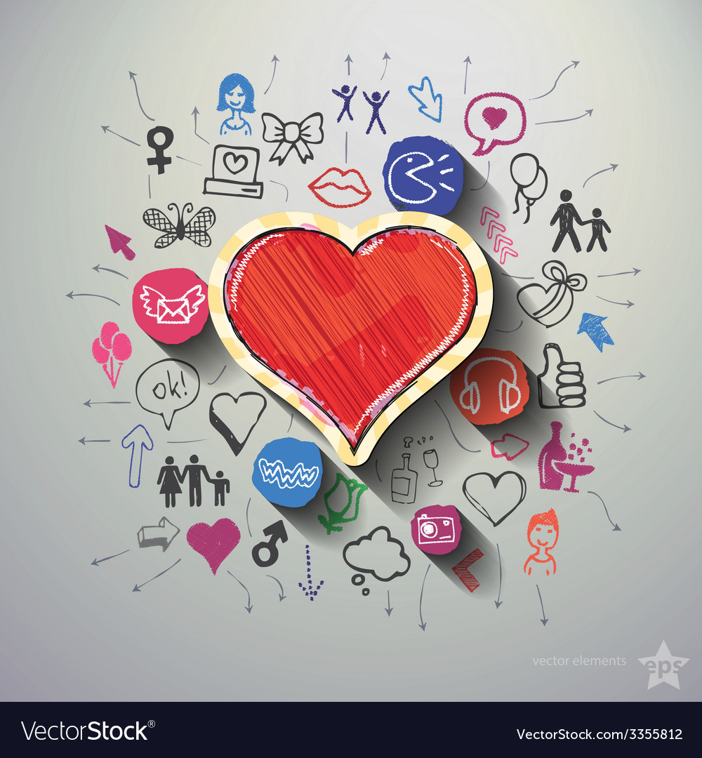 Heart collage with icons background vector | Price: 1 Credit (USD $1)