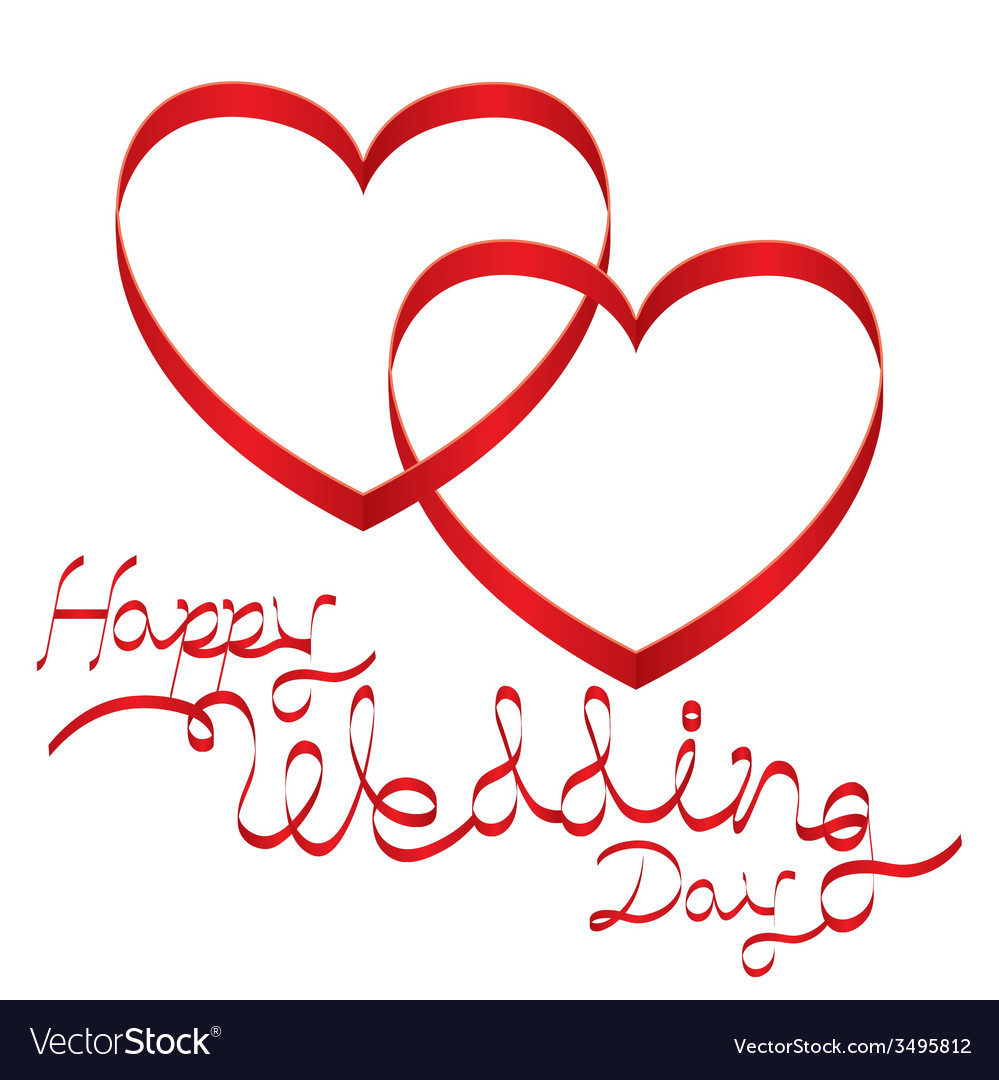 Heart shape ribbon and wedding text vector | Price: 1 Credit (USD $1)