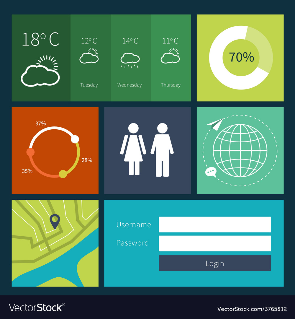 Modern colorful user interface layout in vector | Price: 1 Credit (USD $1)