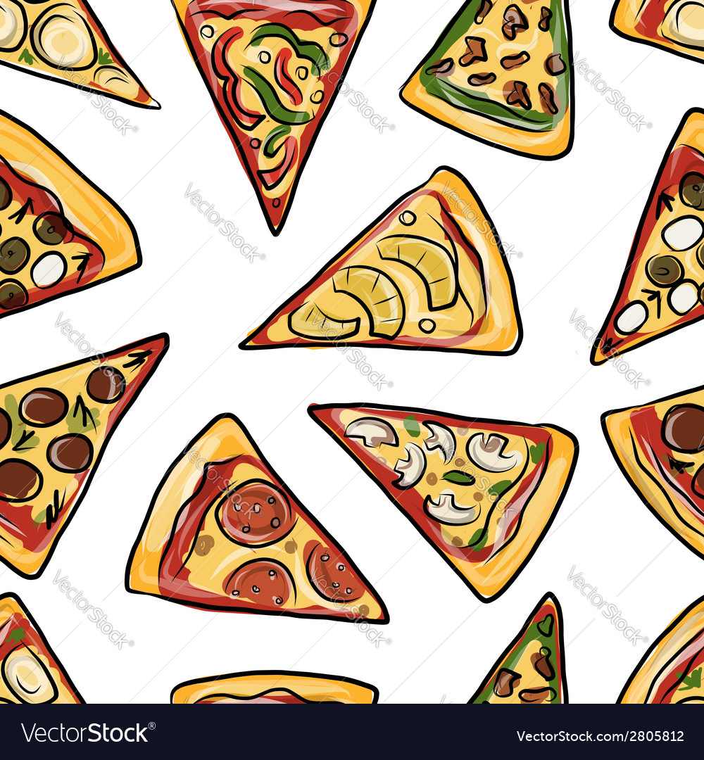 Pieces of pizza seamless pattern for your design vector | Price: 1 Credit (USD $1)