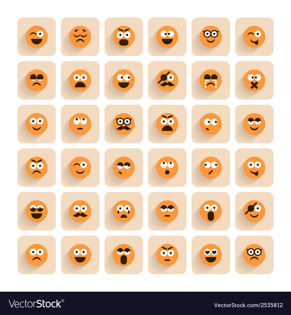 Set of emotion smiling faces icons vector | Price: 1 Credit (USD $1)