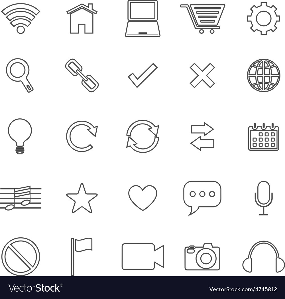Web line icons on white background vector | Price: 1 Credit (USD $1)