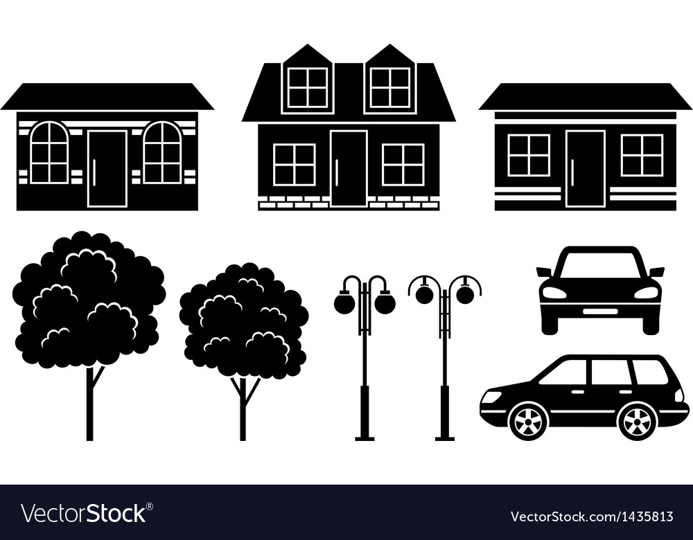 Black icons of houses trees and machines vector | Price: 1 Credit (USD $1)
