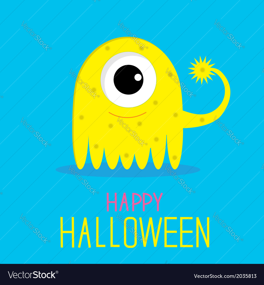 Cute cartoon yellow monster girl happy halloween vector | Price: 1 Credit (USD $1)