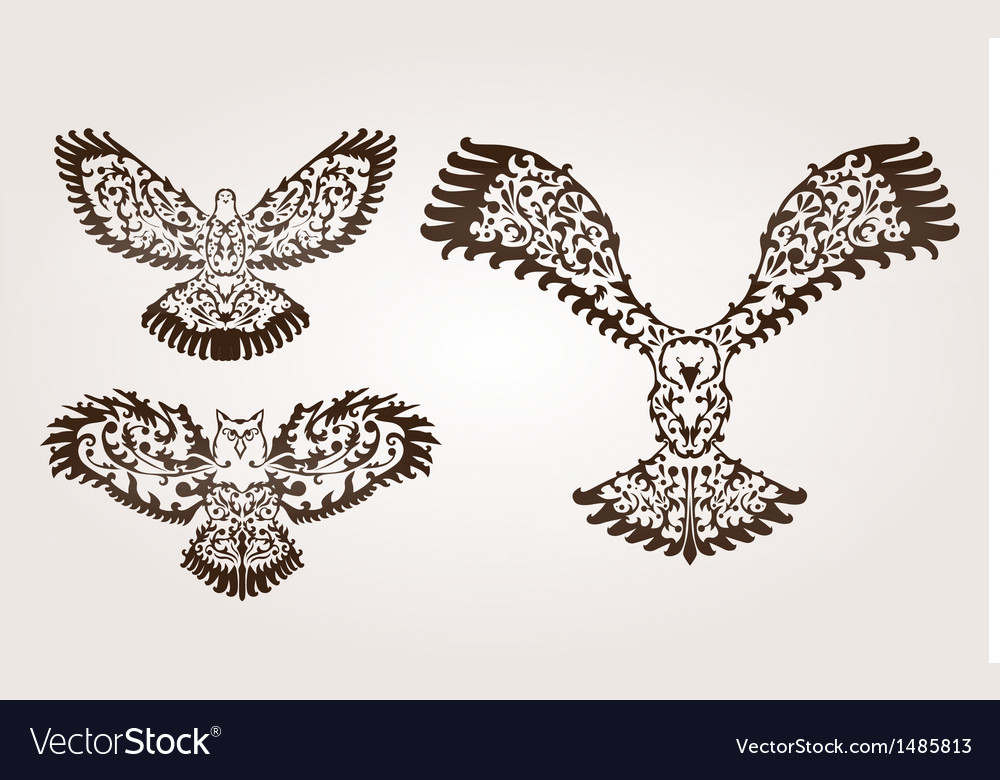 Decorative birds set vector | Price: 1 Credit (USD $1)