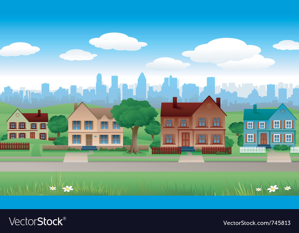 House background with cityscape behind vector | Price: 1 Credit (USD $1)