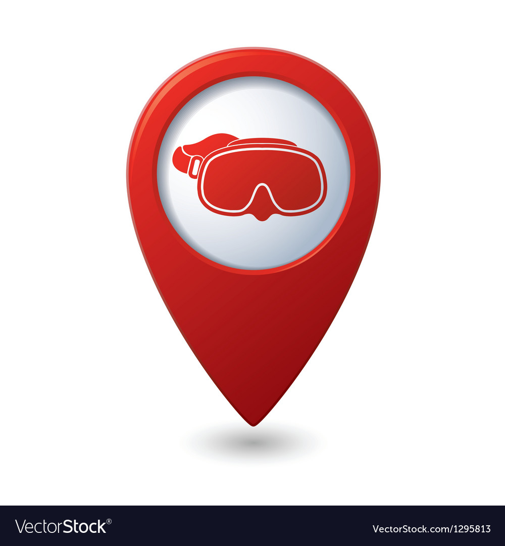 Map pointer with diving mask icon vector   Price: 1 Credit (USD $1)