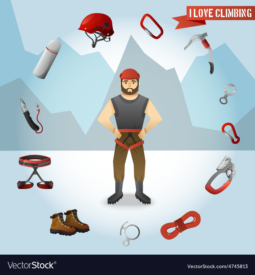 Mountain climber character icons composition vector | Price: 1 Credit (USD $1)