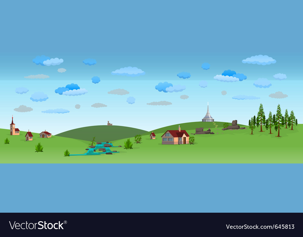 Nature landscape with blue sky vector | Price: 1 Credit (USD $1)