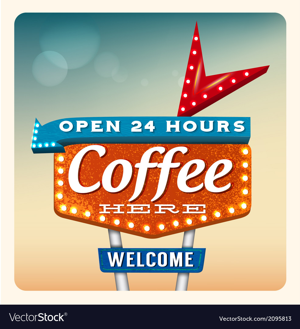 Retro neon sign coffee vector | Price: 1 Credit (USD $1)
