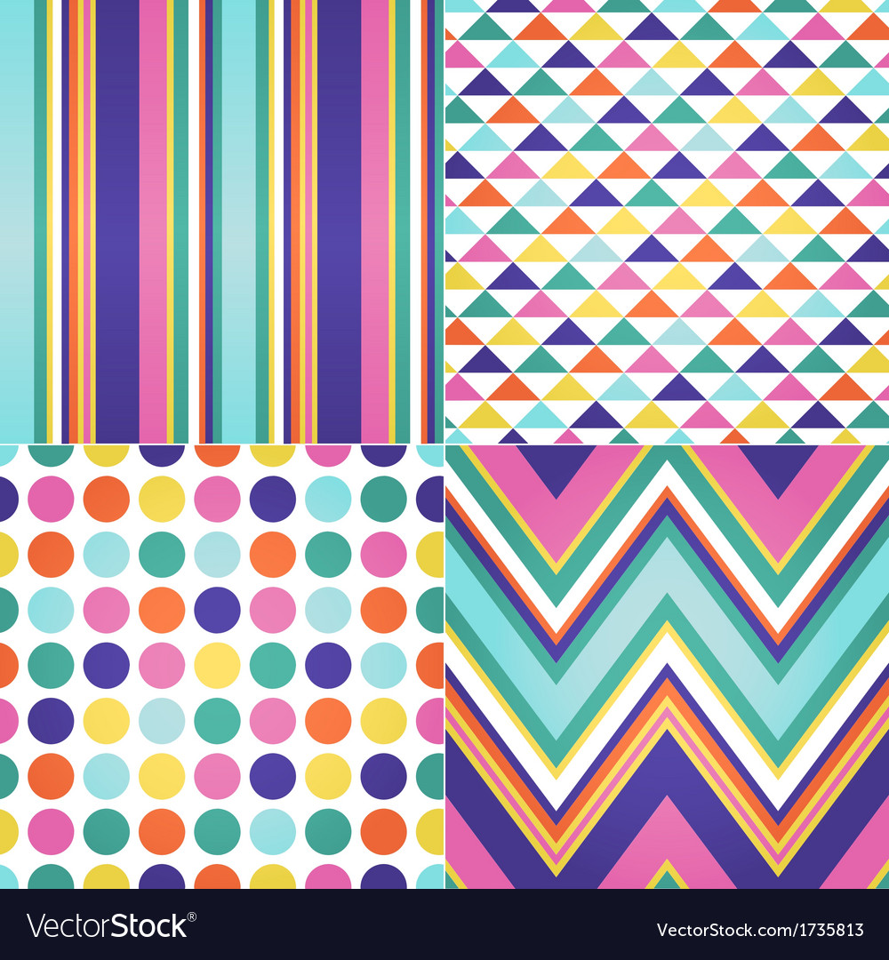 Seamless stripes zigzag and polka dots background vector | Price: 1 Credit (USD $1)