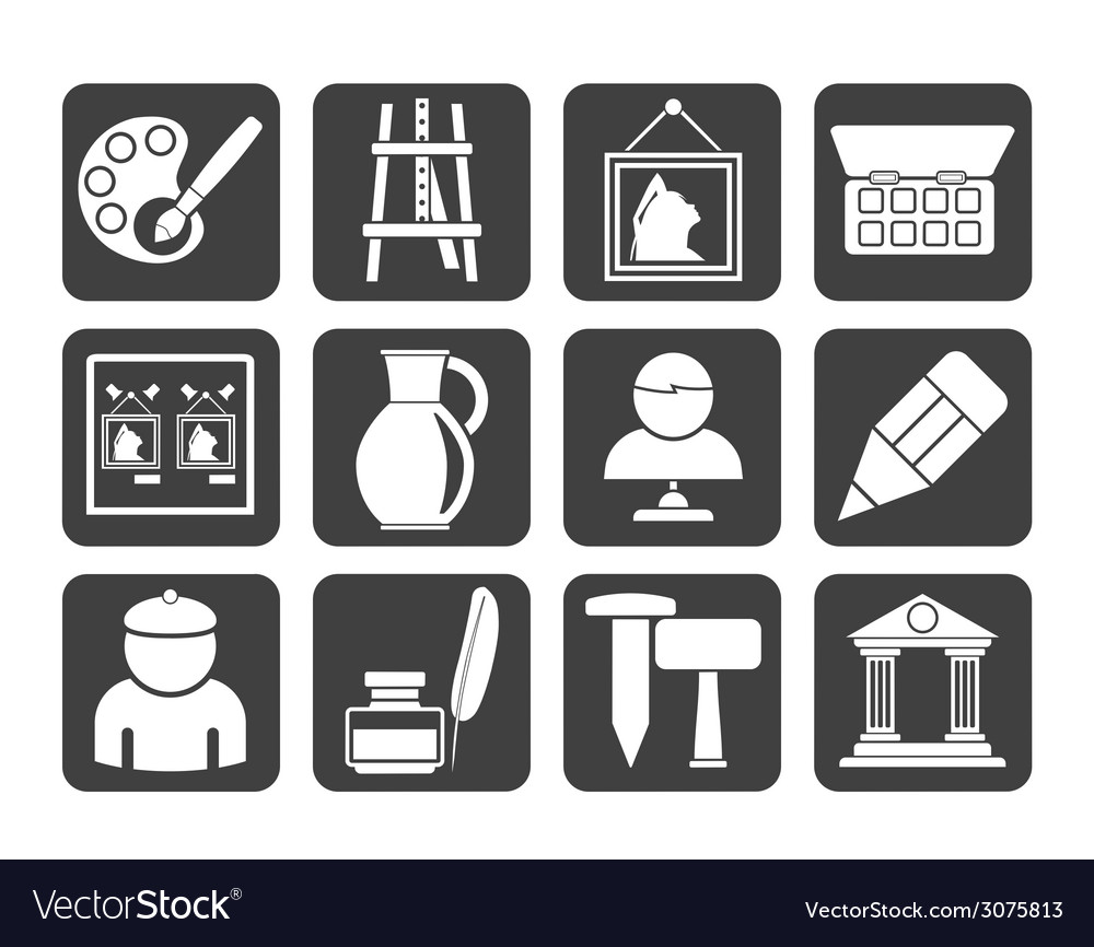 Silhouette fine art objects icons vector | Price: 1 Credit (USD $1)