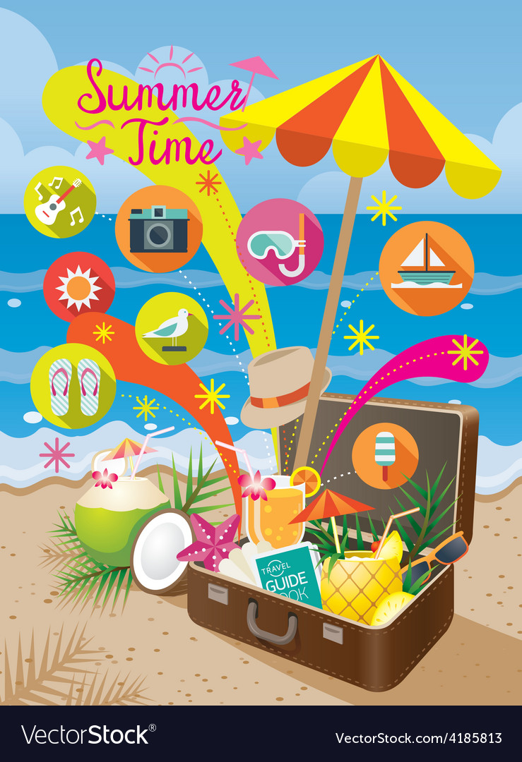 Suitcase with summer objects and icons on beach vector | Price: 3 Credit (USD $3)