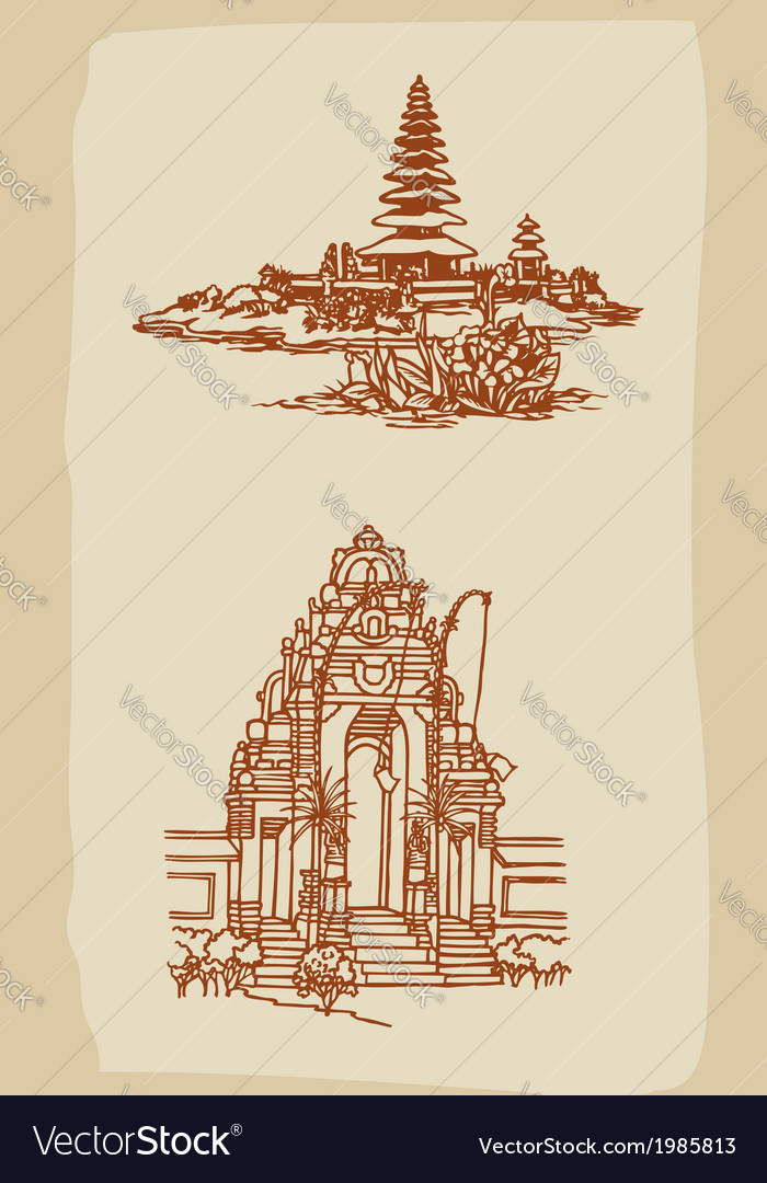 Vintage balinese temple sketches vector | Price: 1 Credit (USD $1)