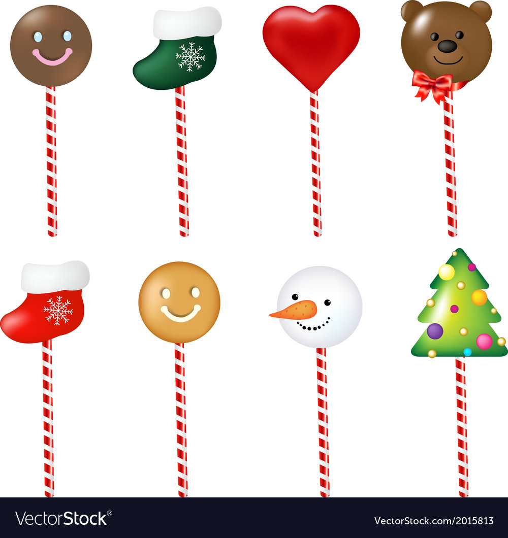 Xmas color lollypops set vector | Price: 1 Credit (USD $1)