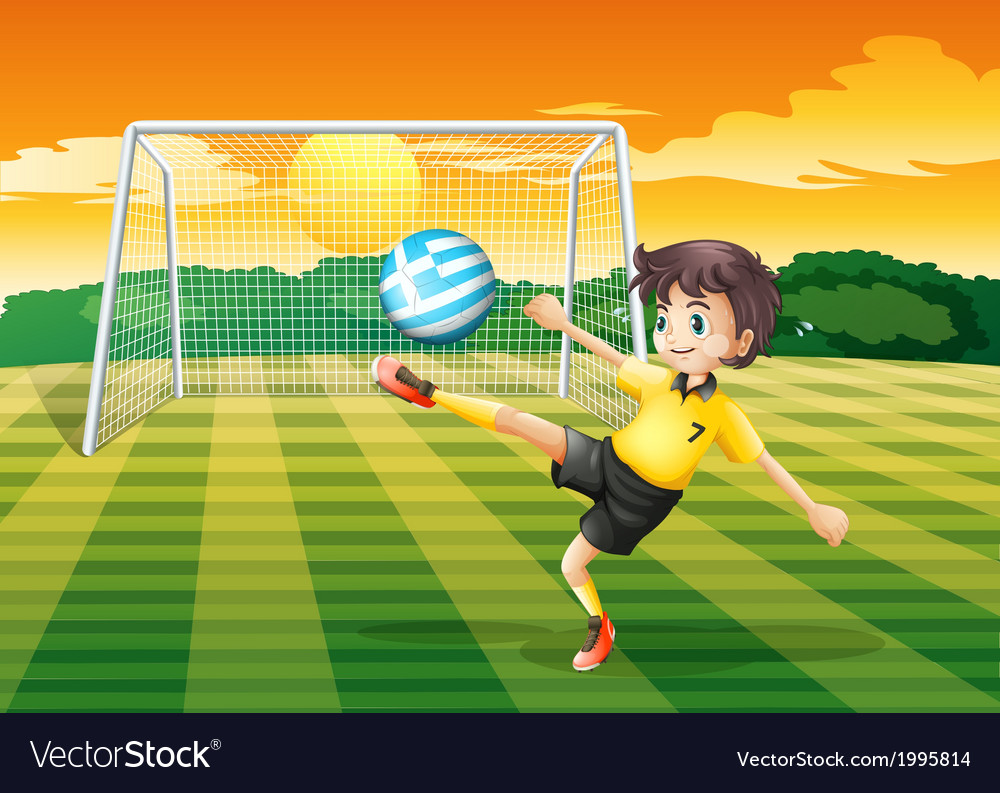 A female player kicking the ball with the flag of vector | Price: 3 Credit (USD $3)