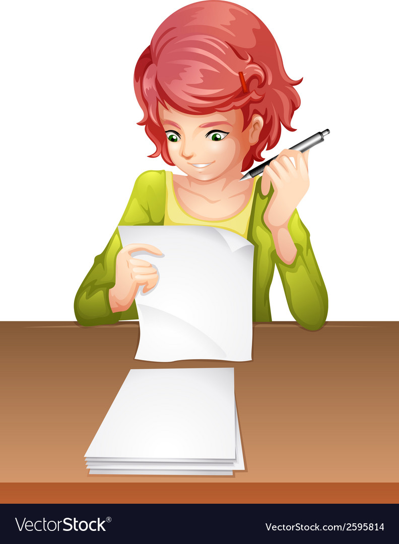 A woman taking an exam vector | Price: 1 Credit (USD $1)